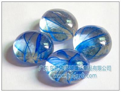 友邦玻璃珠优质蓝色花纹透明玻璃扁珠