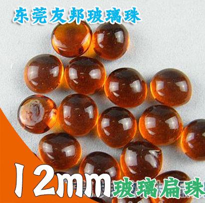 友邦12毫米橘红色玻璃扁珠